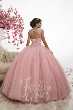Fiesta Quinceanera 56340 Sparkling sequins sparsely dot this tulle ball gown. The bodice is beautifully saturated with colored replica pearls and small AB stones. Xv Dresses, Quince Dresses, Fashion Dresses, Prom Dresses, Sweet 16 Dresses, Pretty Dresses, Pretty Quinceanera Dresses, Quinceanera Party, Princess Ball Gowns