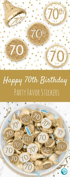 These White And Gold 70th Birthday Party Favor Stickers Are The Perfect Final Detail To Add