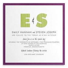 Two-layer B'nai Mitzvah Invitation with Die-cut Paper Initials