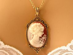 Peach Cameo: Victorian Woman Peach Cameo Necklace, Antiqued Gold, Vintage Inspired Romantic Victorian Jewelry