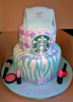 Teal and purple official teenager 13th birthday cake with Starbucks logo, makeup, mini Chanel purse cake topper, teal zebra print.