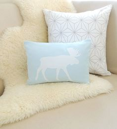 Moose Pillow Cover  Baby Blue  Ivory or White Moose by VixenGoods, $65.00