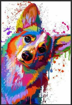 Colorful Corgi splatter.