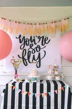 """Hip party table from Modern Glam """"You're So Fly"""" Birthday Party at Kara's Party Ideas. See all the details here!"""