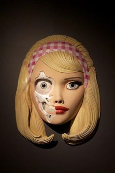 Decaying Life Size Barbie Head, Resin Sculpture, by Collin Christian.