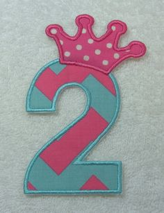 Birthday Number 2 with Crown Fabric by TheAppliquePatch on Etsy