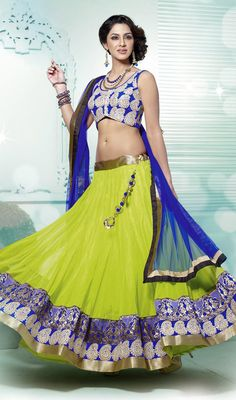 Lime Green Embroidered Net Lehenga Choli Price: Usa Dollar $152, British UK Pound £90, Euro112, Canada CA$165 , Indian Rs8208.