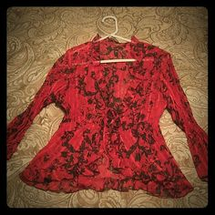 Red shirt never worn Dark red and black sheer top Tops Blouses