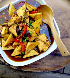 Sichuan-style pan fried tofu in 'fish' fragrant sauce