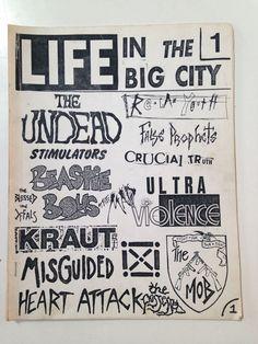 LIFE IN THE BIG CITY zine issue 1 circa 1982 Beastie Boys NYHC Kraut punk MORE