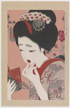 March: Ukiyo-e Beauties  Type     Woodblock print  Maker(s)     Artist: Kitano Tsunetomi (1880 - 1947)  Historical period(s)     Taisho era, ca. 1916/17