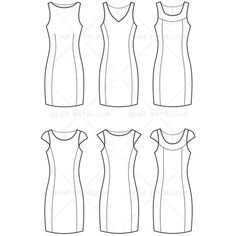 Women's Fitted Dress Fashion Flat Template