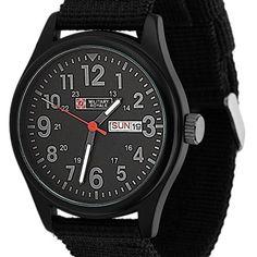 Men's Military Royale Black Dial Fabric Strap Date Sport Quartz Army Watch MR053
