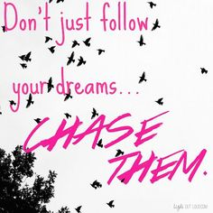 Don't just follow your dreams… chase them. thedailyquotes.com