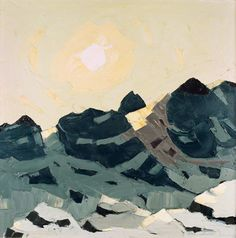 Mountain Landscape with High Sun  by Kyffin Williams        Date painted: 1970–1980