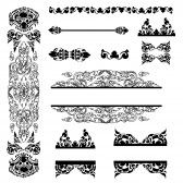 Vector set of Cambodian floral pattern  stock photography