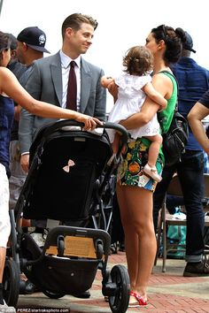 Doting dad: Ben McKenzie broke character on the set of Gotham on Tuesday with a visit by his co-star wife Morena Baccarin and their daughter Frances Laiz Setta Schenkkan Firefly Tv Series, Gotham Tv Series, Gotham Cast, Morena Baccarin Firefly, Morena Baccarin Gotham, Morena Baccarin Ben Mckenzie, Ben Mckenzie Gotham, Gotham Batman, Batman Car