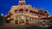 Panoramic view of Crystal Arts on Main Street, U.S.A. at Magic Kingdom park, lit up at night