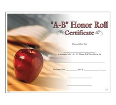 A B Honor Roll Certificate