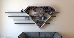 superman logo shelf  interrior  design  bookshelf