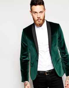 Noose & Monkey Velvet Blazer In Skinny Fit