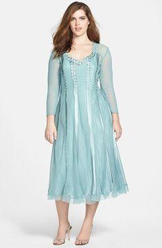 1920s Inspired Plus Size Dress - Komarov Satin Trim Chiffon Dress (Plus Size) $398.00