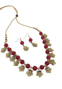 Shop Red Alloy Austrian Diamond Necklace Set Earrings 199016 online from huge collection of indian ethnic jewellery at Indianclothstore.com. Diamond Necklace Set, Beaded Necklace, Ethnic Jewelry, Jewellery, Indian Ethnic, Earring Set, Shop, Red, Collection