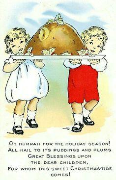 A Christmas Pudding Limerick - Vintage Christmas Postcard Christmas Cards 2018, Christmas Scenes, Vintage Christmas Cards, Vintage Holiday, Vintage Cards, Vintage Postcards, Christmas Postcards, Antique Christmas, Christmas Kitchen