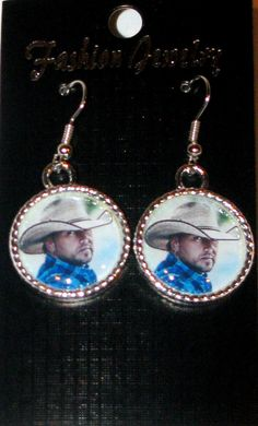 Jason Aldean Pendant Dangle Earrings 3/4  Frame by DixonsJewelry, $8.99