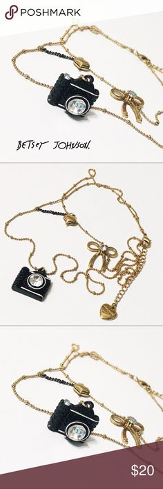 Betsey Johnson Camera Necklace This cute piece is Betsey's smaller camera version. Two strands and in like-new condition. Questions? Please ask! Sorry, no trades. Bundle for a discount! Ships SAME day (EST) - New name brand jewelry added daily so check back often! Betsey Johnson Jewelry Necklaces