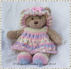 Dress & Floppy hat Set for 16 inch Teddy/Build a Bear Animal-knitting pattern, teddy, build a bear, babydoll handknit designs. there are some nice designs here. Animal Knitting Patterns, Doll Patterns, Crochet Patterns, Bear Patterns, Diy Teddy Bear, Teddy Bear Clothes, Teddy Bears, Knitting Dolls Clothes, Knitted Dolls