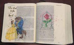 Beauty and the Beast.1 Samuel 16 Bible art journal #illustratedfaith #disney #princess