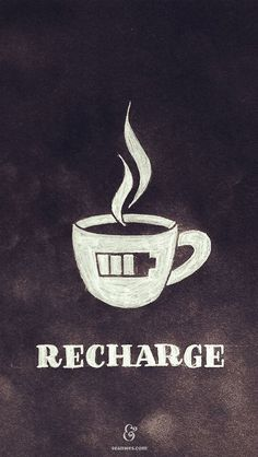 Recharge coffee quote - motivated by coffee - coffee lover - coffee art - coffee design Coffee Talk, Coffee Is Life, I Love Coffee, Coffee Break, My Coffee, Morning Coffee, Coffee Shop, Coffee Cups, Coffee Lovers