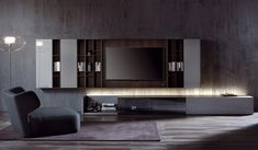 SMARTWALL - Designer Wall storage systems from Acerbis ✓ all information ✓ high-resolution images ✓ CADs ✓ catalogues ✓ contact. Tv Unit Design, Tv Wall Design, House Design, Design Homes, Design Studio, Living Room Tv, Living Room Interior, Painel Tv Sala Grande, Wall Storage Systems