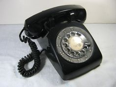 Vintage ROTARY Phone RETRO BLACK Office Style MAD MEN!  by LavenderGardenCottag