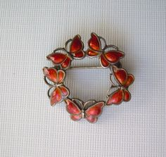 "Volmer Bahner Butterfly Pin Brooch-Vintage Guilloche Silver & Red Orange Enamel-Collectible Designer ""VB Sterling Denmark"" Hallmark-Heirloom by CougarCoveFineGifts on Etsy https://www.etsy.com/listing/196951331/volmer-bahner-butterfly-pin-brooch"