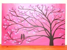pink 30 x 20 whimsical tree art painting