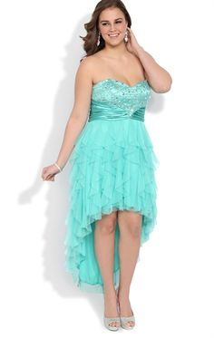 Plus Size High Low Prom Dress with Stone Waist and Tendril Skirt ...
