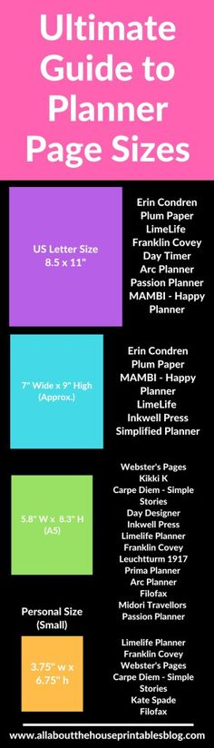 Ultimate planner page size guide (with printable reference cheat sheet) Arc Planner, Planner Tips, Passion Planner, Planner Inserts, Planner Pages, Life Planner, Printable Planner, Happy Planner, Planner Stickers