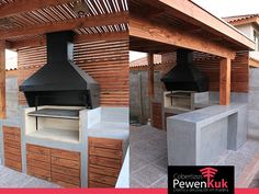 quincho campana 2 Back Patio, Patio Roof, Modern Outdoor Kitchen, Outdoor Living, Inground Hot Tub, Parrilla Exterior, Bbq Stand, Outdoor Cooking Area, Backyard Pavilion