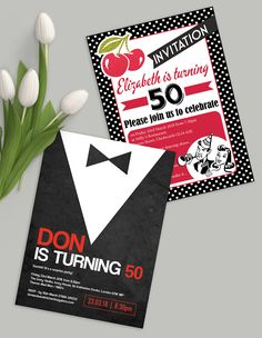 Gorgeously sophisticated milestone birthday / wedding anniversary party invitations. 18th / 21st / 30th / 40th / 50th / 60th / 70th / 80th birthday party   Fun retro rockabilly black white red cherry motown 1950s template and cool black tie / MAD MEN themed designs.   Browse and personalise our great range of instant printable invites online, or order designs professionally printed.   See more at www.HipHipHooray.com/by-age