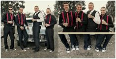 Rockabilly Wedding without the beers of course but I like the red suspenders on the guys 50s Wedding, Rockabilly Wedding, Rockabilly Fashion, Wedding Men, Farm Wedding, Wedding Attire, Dream Wedding, Rockabilly Style, Wedding Ideas