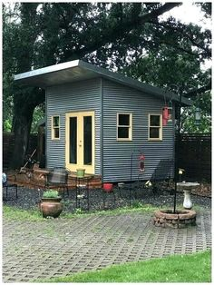 Backyard Sheds Ideas . Backyard Sheds Ideas . 15 Lovely Colorful and Bright Painted Shed Ideas Tiny Backyard House, Backyard Barn, Backyard Cottage, Backyard Sheds, Outdoor Sheds, Backyard Landscaping, Nice Backyard, Outdoor Sauna, Backyard Studio
