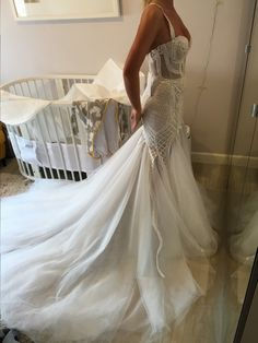 Stunning Embellished Strapless Sweetheart Mermaid Wedding Dress / Bridal Gown Open Back and Long Train. Dress by Pallas Couture Second Hand Wedding Dresses, Weeding Dress, Wedding Dresses For Sale, Bridal Dresses, Wedding Gowns, Designer Wedding Dresses, Pallas Couture, Dream Dress, Mermaid Wedding