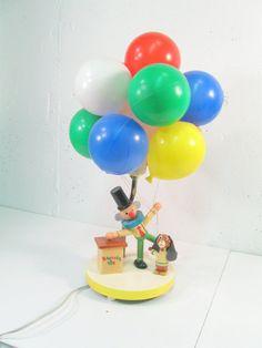 Vintage Dolly Toy Clown Balloon Nursery Lamp, night light