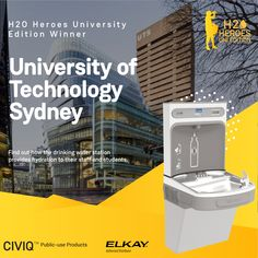 The University of Technology Sydney is one of the H2O HEROES University Edition winners. Find out how the recently installed Elkay EZH2O drinking water station provides hydration to their staff and students whilst on campus. #CIVIQAu #elkay #UTS #universityofsydney #sustainability #drinkingfountain #keephydrated #goodhealth #healthinnovation #schools #university Drinking Fountain, Drinking Water, University Of Sydney, School S, Sustainability, Students, Goals, Technology, News