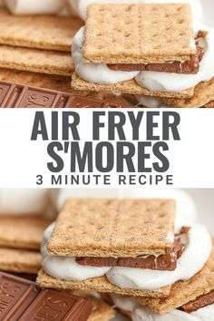 This easy recipe for a air fryer s'mores shows you exactly how to make a perfect s'more in your air fryer in 3 minutes or less using chocolate, graham cracker and puffy marshmallows. Great for a rainy day to make s'mores indoors with easy clean up! Healthy Dessert Recipes, Healthy Sweets, Fun Desserts, My Recipes, Holiday Recipes, Real Food Recipes, White Chocolate Cookies, Chocolate Treats, Chocolate Graham Crackers