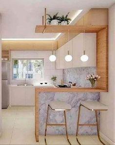 Kitchen Counter Design, Kitchen Room Design, Home Room Design, Modern Kitchen Design, Kitchen Layout, Home Decor Kitchen, Interior Design Kitchen, Small Kitchen Bar, Kitchen Bars