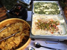 Onsite #catering deconstructed Pulled Pork Nachos and Spinach Artichoke Dip -- perfect #fingerfood for parties! #BBQ #Party #Summerfood #weddingseason #weddingplanning #weddingcatering