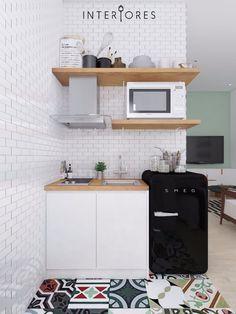Cozinha compacta Apartment decor 16 Brilliant Ideas For Your Tiny Apartment - futurian Small Apartment Kitchen, Home Decor Kitchen, Rustic Kitchen, Home Kitchens, Mini Kitchen, Kitchen Modern, Small Condo Living, Kitchen Mats, Small Kitchen Cabinets